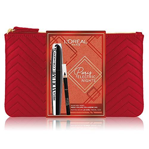 L'Oréal Paris Makeup Cofanetto Idea Regalo Donna, Mascara Volumizzante Allungante Mega Volume Collagene 24H e Matita Occhi Le Khol, Travel Size