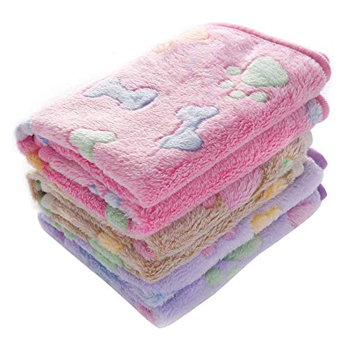 Fransande Juego de 3 mantas de forro polar de coral de 76 x 50,8 cm, súper suaves, esponjosas, para perros, cachorros, color rosa, marrón y morado