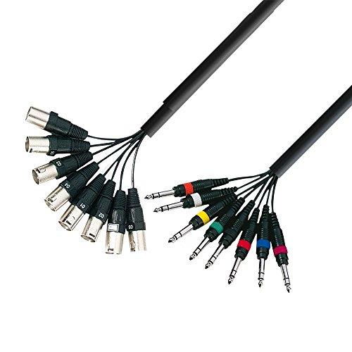 Adam Hall 3 Star Series - Cable para instrumentos musicales (8conectoresXLR macho a 8conectores macho de6,3 mm, longitud: 3 m)