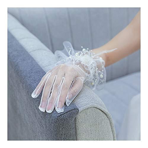 Frauen-Dame-Voile-Spitze elastische Netz-Garn-Partei-Hochzeit Brautkleid Handschuhe kurz langlebig (Color : White, Size : L)