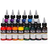 14Pcs Tattoo Ink 14 Colors Set 1 oz 30ml/Bottle Tattoo inks Pigment Kit for 3D makeup beauty skin body art