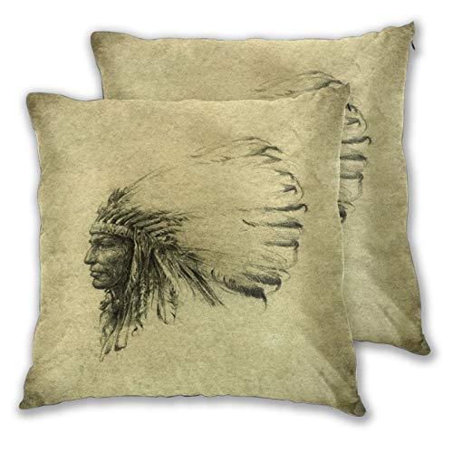 VINISATH Set de 2 Funda de Cojín 50x50cm Dibujo de Cabeza Vintage de Plumas de Jefe Indio Nativo Americano marrón Fundas de Almohada para Cojines Decorativos para Sofá Cama Coche Hogar