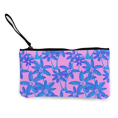Yuanmeiju Unisex Tropical Palms Pattern Frauen Mädchen Cute Canvas Coin Purse Zipper Pouch Wallet Make Up Bag
