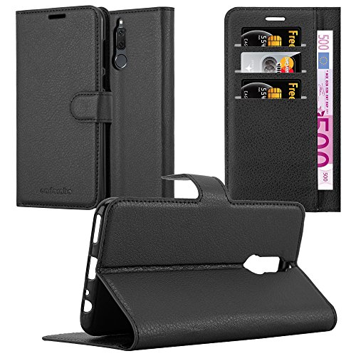 Cadorabo Custodia Libro per Huawei MATE 10 LITE in NERO CARBONE - con Vani di Carte, Funzione Stand e Chiusura Magnetica - Portafoglio Cover Case Wallet Book Etui Protezione