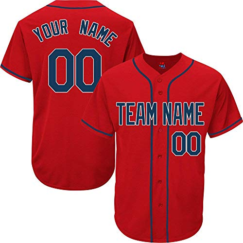 SEVEN-S Red Custom Baseball Jersey for Men Women Youth Practice Embroidered Navy White image