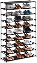 YOUDESURE 10 Tiers Shoe Rack, Large Shoe Rack Organizer for 50 Pairs, Space Saving Shoe Shelf, Non-Woven Fabric Shoe Storage Cabinet (Black)