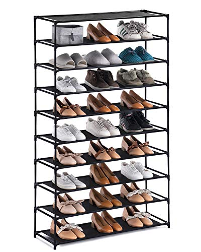 YOUDESURE 10 Tiers Shoe Rack, Large Shoe Rack Organizer for 50 Pairs, Space Saving Shoe Shelf, Non-Woven Fabric Shoe Storage Cabinet (Black)