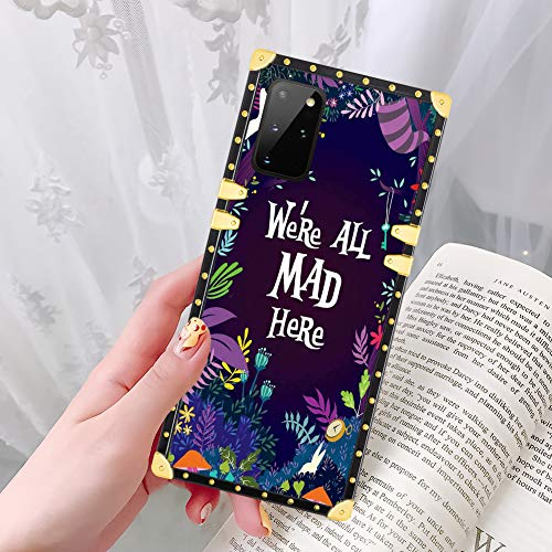 DISNEY COLLECTION Samsung Galaxy S20 Plus 5G Case Alice in Wonderland Pattern Glitter Square Luxury Design Slim Shockproof Bumper Protective Cover for Galaxy S20+ 6.7 Inch