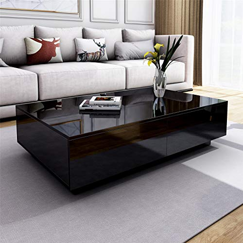 UNDRANDED Modern Rectangle Coffee Tea Table High Gloss Coffee Table with 4 Storage Drawers for Living Room Home Office Furniture 95 x 60 x 31cm (Black)
