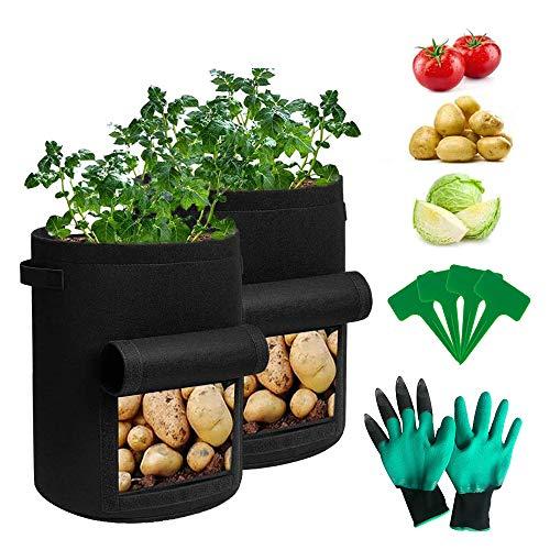 KRIS Sacchetti per la Coltivazione di Patate,Sacca per Piantare,Patate da Piantare,Vaso Patate,Sacchetti per Coltivazione,Borsa per Piante Non Tessuto(2PCS)