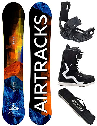 Airtracks Snowboard Set/Board Blue Slopes Wide Hybrid Rocker 155 + Snowboard Bindung Master + Boots Strong QL 44 + Sb Bag