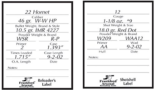 Frankford Arsenal Unisex's FRAN-202364 Pistol and Rifle Reloaders Labels (Pack of 100) -White, n.a