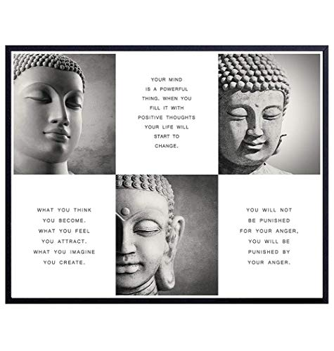 Inspirational Buddhism Buddha Quotes - Zen Wall Art Home Decor - Decoration for Spa, Living Room, Yoga Studio, Office - Unique New Age Gift for Buddhist, Meditation Instructor - 8x10 Poster Print