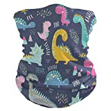 Qilmy Cute Funny Kids Dinosaurs Bandanas Face Mask Headband Scarf Headwrap Neckwarmer & More – Multifunctional for Motorcycle, Cycling, Music Festivals, Raves, Outdoors