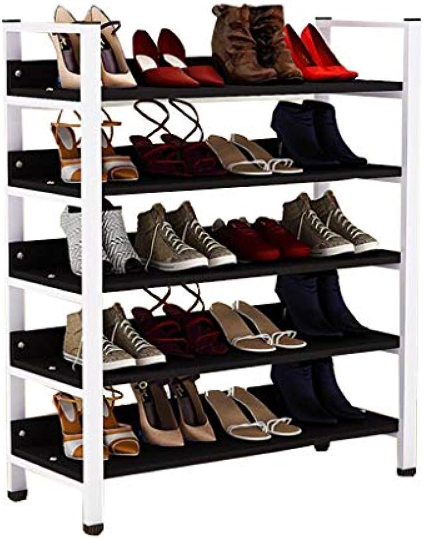 Schuhregal 60 80cm Breite Hausschuhe Aufbewahrungsregale Organizer Plant Shelf Indoor und Outdoor Weier Stahlrahmen + Schwarz MDF
