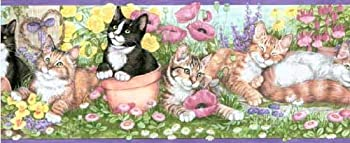 Concord Wallcoverings Prepasted Kittens & Flowers Wallpaper Border Green Colors Black White Pink Beige Yellow Purple 6.75 inch by 15 Ft OS0717B