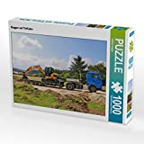 CALVENDO Puzzle Bagger auf Tieflader 1000 Teile Lege-Größe 64 x 48 cm Foto-Puzzle Bild von Günther Geiger