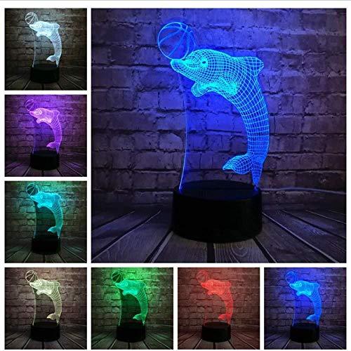 3D Luz nocturna para niños Lámpara De Ilusión Ingeniería de luna de peces de coral caliente para hombres, mujeres, niños, niñas, regalo Con interfaz USB, cambio de color colorido