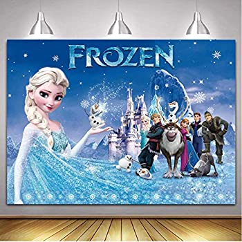 Elsa Backdrop 5 x 7ft Vinyl Frozen Photography Background for Kids Birthday Party Wall Decorations