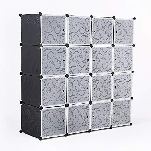 ASUKALE - Armario de plástico portátil, sistema de estanterías con puertas 10 cubos y 2 puertas