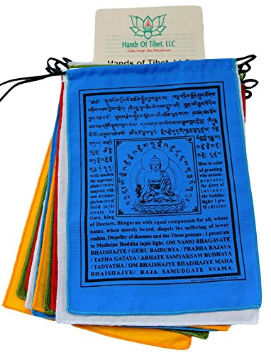 Handmade Medicine Buddha Prayer Flags Tibetan with English Translation (6'X8')
