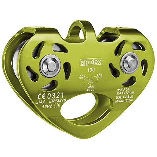 ALPIDEX Seilrolle Tandem Pulley Umlenkrolle Doppelseilrolle - geeignet für Stahlseile 8-12 mm Ø und Textilseile bis 13 mm Ø, Farbe:Lime
