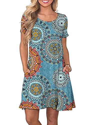 OMZIN Damen Partykleid Kurz Rundhals Sommerkleid Bedruckt Basic Strandkleid Blauer Ring M