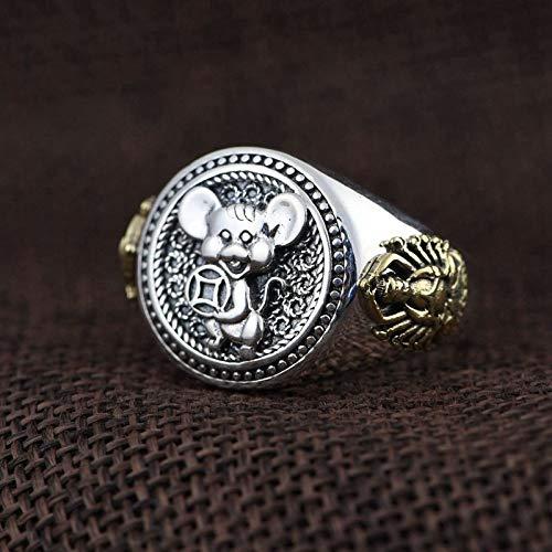 THTHT open ring van 925 zilver voor dames en heren, motief: Ei Mille-Mano