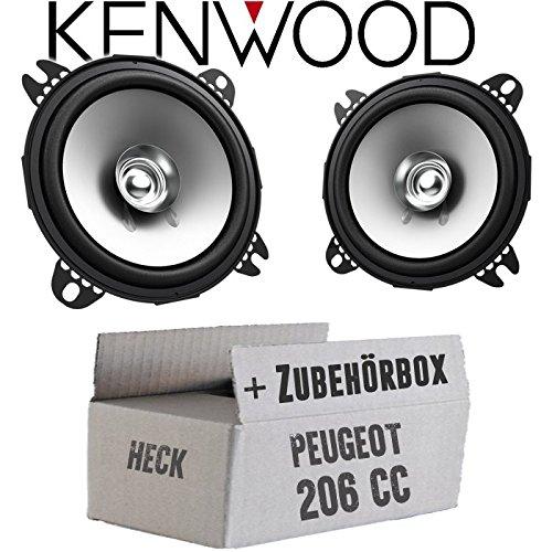 Lautsprecher Boxen Kenwood KFC-S1056-10cm Koax Auto Einbauzubehör - Einbauset für Peugeot 206 CC Heck - JUST SOUND best choice for caraudio