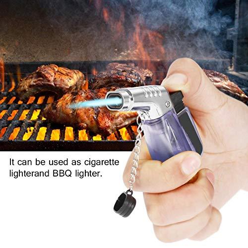Qiiluターボライタータブルライター防風ライターシガレットライターカラフル充填式軽量防水BBQタバコ日常生活用(青)
