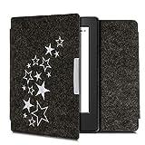 kwmobile Funda Compatible con Kobo Aura H2O Edition 2 - Carcasa Plegable de Fieltro para e-Reader - Case Varias Estrellas Blanco/Gris Oscuro