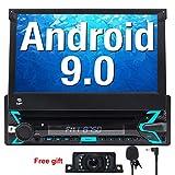 FOIIOE Android 9.0 Autoradio 1 DIN pour Voiture Compatible GPS Navigateur, DVD, Bluetooth, Subwoofer, Mirror-Link, Commande au Volant, WiFi, USB, SD, avec écran Tactile 7'
