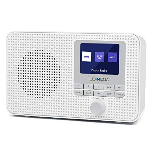 Radio Digital portátil Dab/Dab +/FM LEMEGA DR3, Bluetooth inalámbrico, Reloj de Alarma Dual, Temporizador de Cocina/Reposo/repetición, Salida de Auriculares, batería y alimentación por USB - Blanco