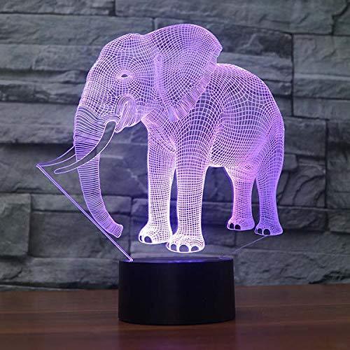 QCKDQ Éléphant Acrylique Nuit, Lampe de Table de Produit Creative, 7 Couleurs de Chargement USB Night Lights Salon de lit Bar Design Toy,B