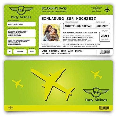 Einladungskarten zur Hochzeit (50 Stück) Flugticket mit Foto Einladung in Grün