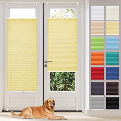 Vkele Plissee Klemmfix Faltrollo ohne Bohren (Gelb, B75cm x H120cm) Sichtschutz und Sonnenschutz, Plissee Rollo Jalousie für Fenster und Tür