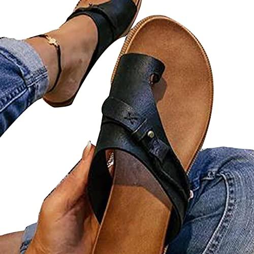 Aprimay Sandalias planas para mujer Sandalias planas de moda con punta abierta Sandalias ortopédicas para mujer, corrección de tela de PVC, puntera abierta, sandalias de tacón plano,