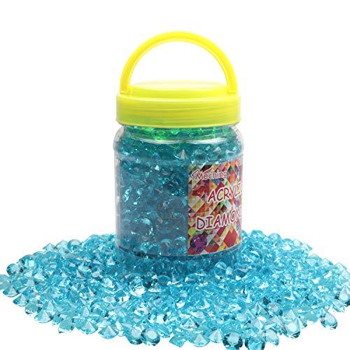 Meching 1100Stk Deko Diamanten 10mm Farblos Diamantkristalle Transparent Kristall Dekosteine Tischdeko Diamanten Streudeko Hochzeit Dekoration(Blau)