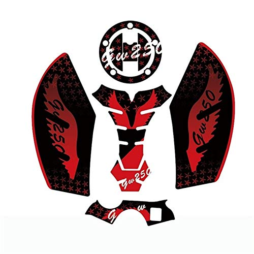 3D Motorcycle Tank Pad Gel Protector Sticker Bandit Tankpad Case For GW250 (Color : Red)
