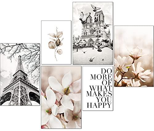 Artpin® Moderno juego de pósteres, cuadros decorativos para salón dormitorio, París, flores, negro, blanco, beige, pared sin marco (4 x A4 | 2 x A5) W14
