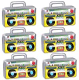 6 PCS Inflatable Boombox - 80s 90s Party Supplies Decorations Inflatable Boom - Rappers Hip Hop B-Boys Costume Accessories (16.5 Inches)