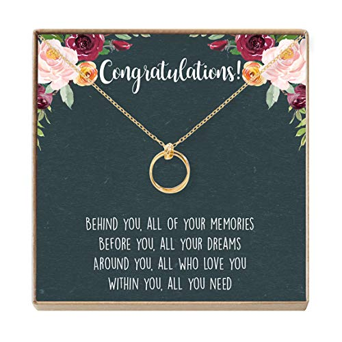 Graduation Necklace - Heartfelt Card & Jewelry Gift for High School/College, etc (2 Linked Circles Gold)