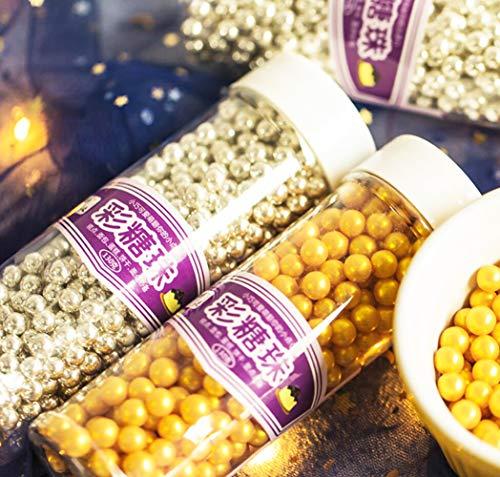 Mini perlas comestibles doradas para decoración de pasteles, celebraciones, dulces, perlas, tarro para bodas, fiestas y pasteles, suministros de decoración de alimentos, 4.6 onzas 7 mm