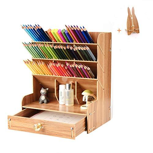 Surplex Schreibtisch-Organizer aus Holz, Multifunktionale Schreibtisch-Aufbewahrungsbox mit Schublade Stifthalter, Büro Tisch Organisation für Schreibwaren Büro Zuhause und Schule mit Telefonhalter