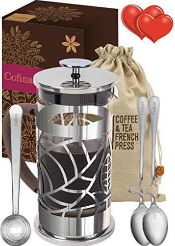 Learn More About Cofina French Press Coffee Maker – 34 oz Large Australian Designed Stainless Steel & Glass French Coffee Press Gift Bundle for moms