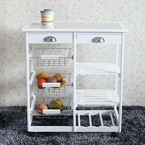 kuz Rolling Be super welcome Wood Kitchen Island Max 90% OFF Cabinet Trolley Storage Top Cart