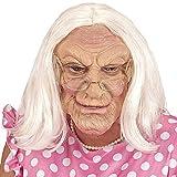 NET TOYS Faltige Hexenmaske Alte Frau mit Perücke - Hautfarben-Weiß - Hochwertige Unisex-Gesichtsmaske Großmutter aus Latex - Perfekt geeignet für Karneval & Fasching