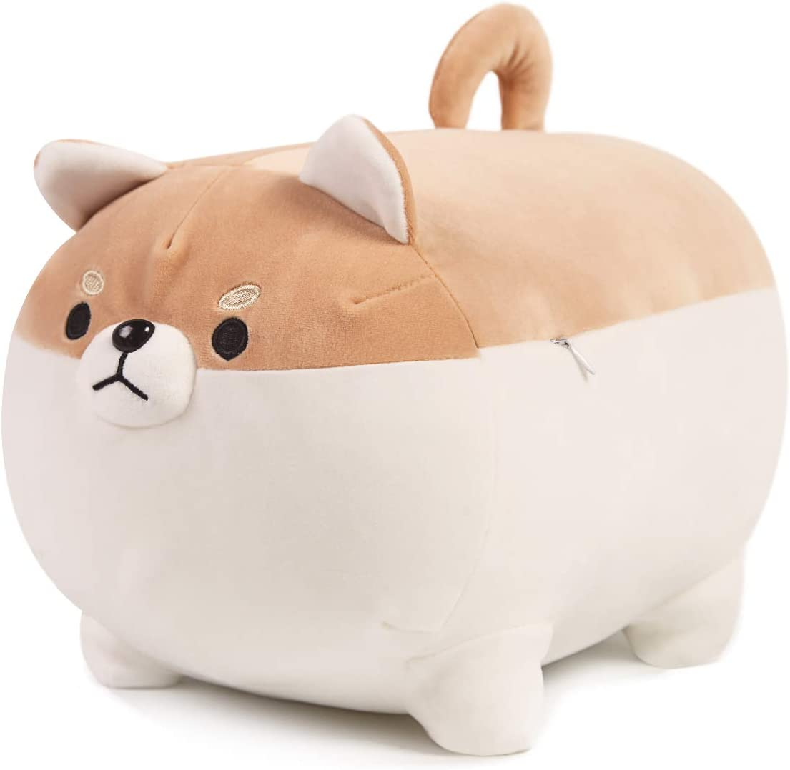 ARELUX Shiba Inu Dog Plush Pillow,Soft Chubby Buddy Corgi Throw Hugging Pillow,Stuffed Animal Doll Toy Gifts for Bedding, Kids Birthday, Valentine, Christmas