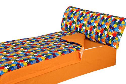 Montse Interiors, S.L. - Saco Nórdico Estampado Piezas de Puzzle de Colores, Modelo Puzzle, para Cama de 90x190/200