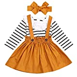 Xmiral Kleinkind Baby Mädchen Outfits Set Langarm Gestreifte Strampler + Strumpf Rock + Bogen Stirnband Infant Kinder Spitze Prinzessin Kleid Anzug(Weiß,6-12 Monate)